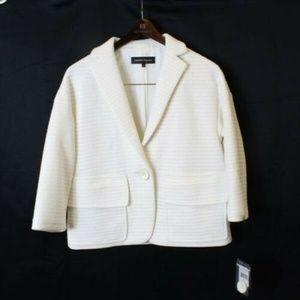Nanette Lepore White Blazer Raving Raffia Jacket